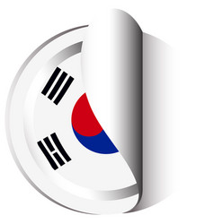 Sticker template for south korea flag vector