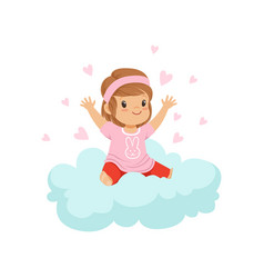 sweet little girl sitting on cloud surrounded by vector image vector image