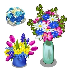 Three bright bouquet of flowers in vase and pot vector