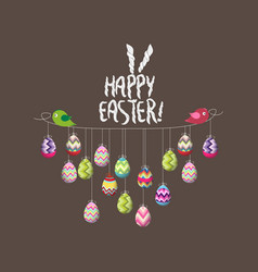 two birds hold rope with easter eggs vector image