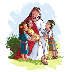 Jesus with children vector image