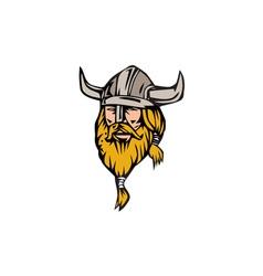 Viking Warrior Head Retro vector image