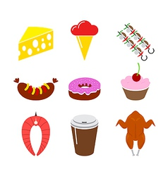 Food icon set isolated on a white background vector
