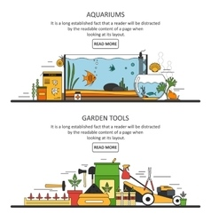 Aquarium and garden tools banners in flat style vector