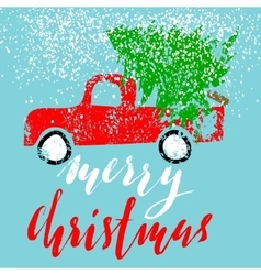 Red car carries Christmas spruce Merry Christmas vector image