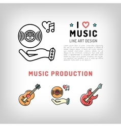 Music production and producing vinyl record vector