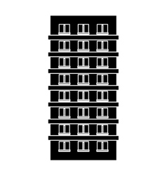 Contour apartment building line sticker vector