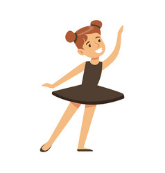 Little girl in black tutu dancing ballet in vector