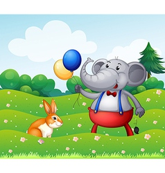 A rabbit and an elephant with balloons vector image