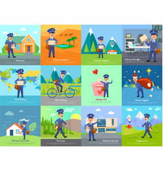 Set of icon with postman characters and mail boxes vector