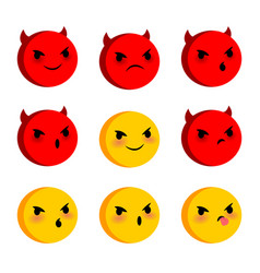 emotional faces evil devil smiles set vector image