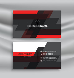 red and black business card template layout in vector image