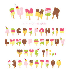 Ice cream melted font popsicle colorful letters vector