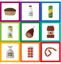 Flat icon eating set of bottle sack tomato and vector