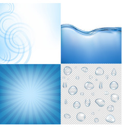 Blue water backgrounds set vector