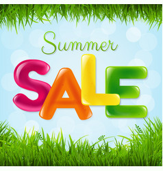 Summer sale poster with color text vector