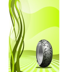 Motorcycle tire on green background vector