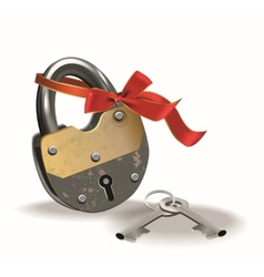 Lock with ribbon vector