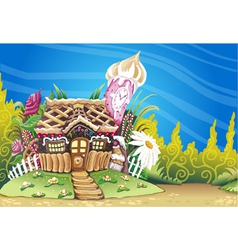 Fantasy marzipan sweets house background vector