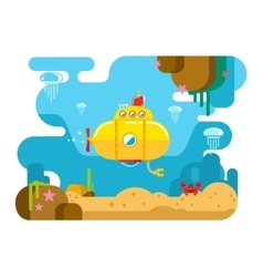 Submarine under water flat vector