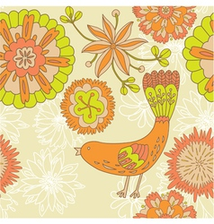 vintage floral bird background vector image
