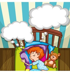 Boy sleeping in bed vector