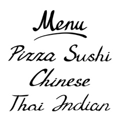Menu headline handmade lettering vector image