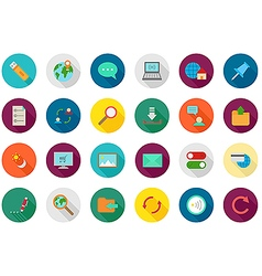 Internet round icons set vector