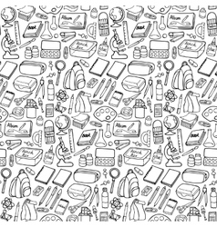 School doodle seamless pattern vector image
