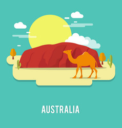 A camel petient creature in the desert australia vector