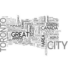A tourist guide to toronto text word cloud concept vector
