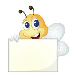 Bee with sign vector image vector image