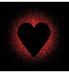 Black heart on the red glittering background vector image