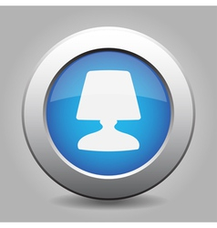 Blue metal button with lamp vector