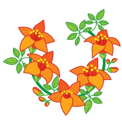 Branch of orange red flower vector