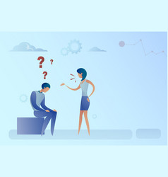 business man and woman with question mark vector image vector image