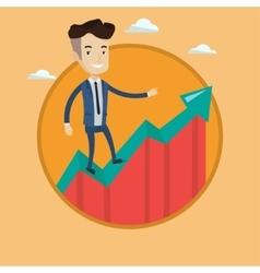 Businessman standing on uprising chart vector