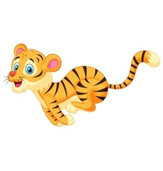 Cute tiger cartoon running vector