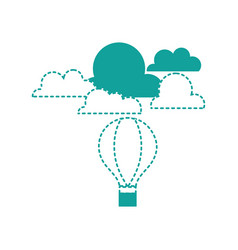 dotted shape air balloon fly with cloud natural vector image