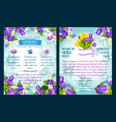 Floral posters for spring sale shopping vector