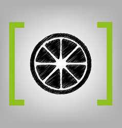 fruits lemon sign black scribble icon in vector image vector image
