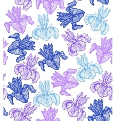 hand-drawn iris background vector image