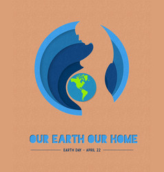 Happy earth day paper mother nature vector
