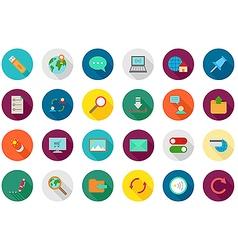 Internet round icons set vector