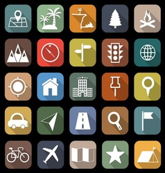 Location flat icons with long shadow vector image vector image