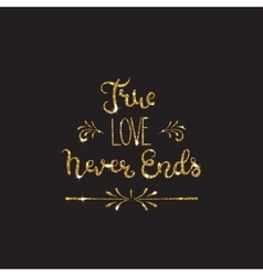 Love text Romantic lettering with glitter Golden vector image vector image