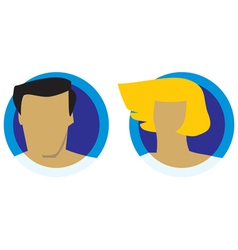 Male and female heads icons vector