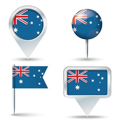 Map pins with flag of Australia vector image vector image
