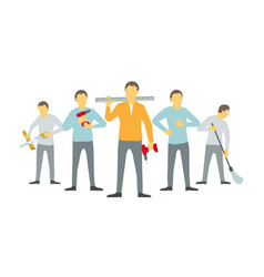 Men are carpenters team of workers five handymen vector