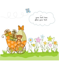 new baby announcement card with pram vector image